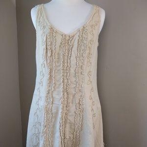 G Designs Natural Cotton Ruffle Dress Sleeveless M